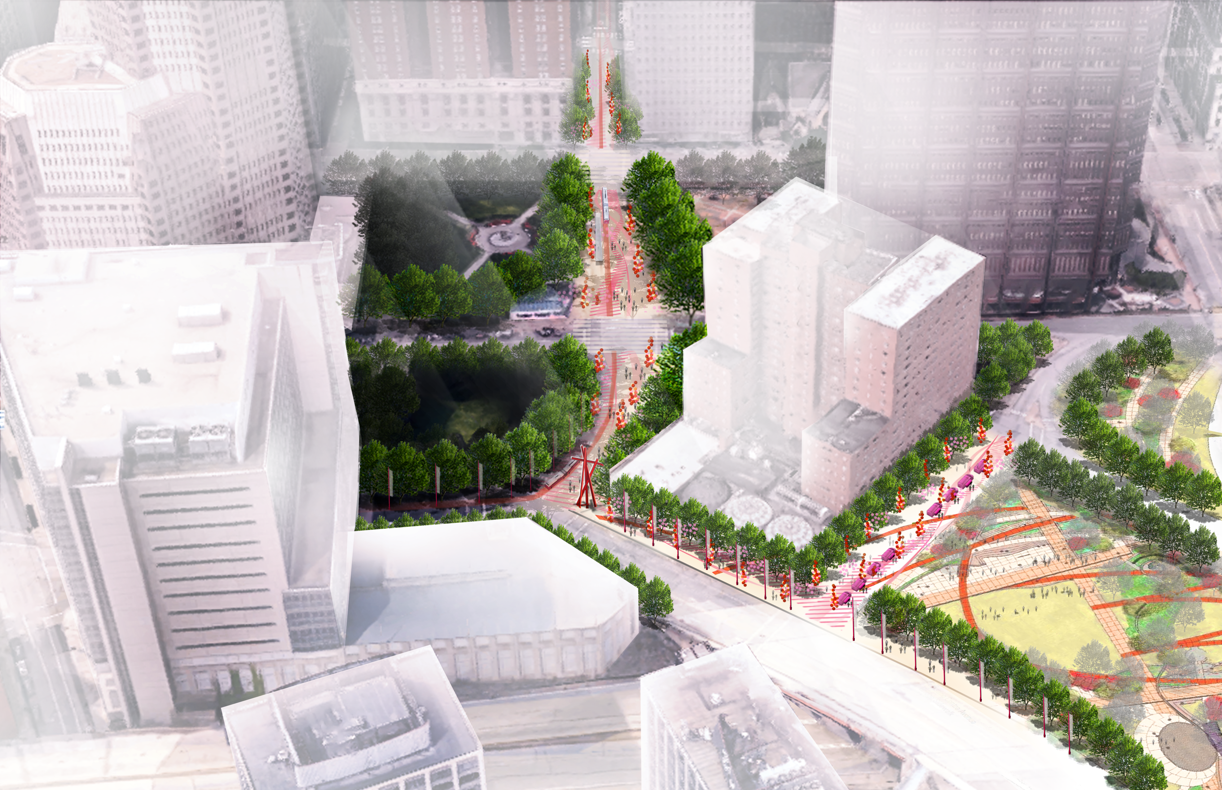 Illustration of future downtown with white buildings and connected paths