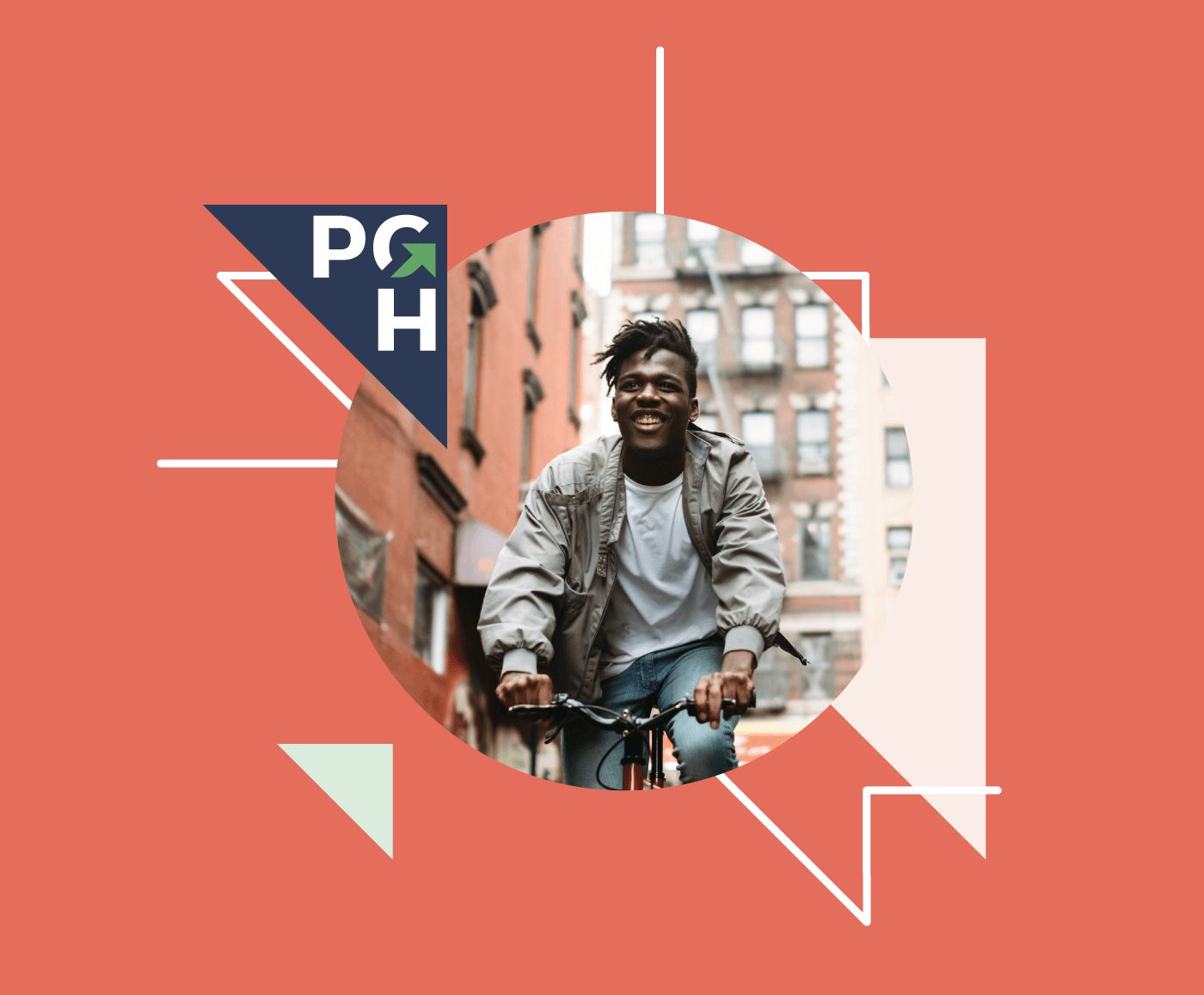 A PGH logo surrounded by branded graphics and an image of a person riding their bike downtown.